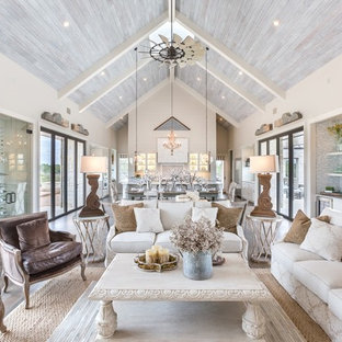 Inspiration for a shabby-chic style formal open concept living room in Austin with dark hardwood floors.