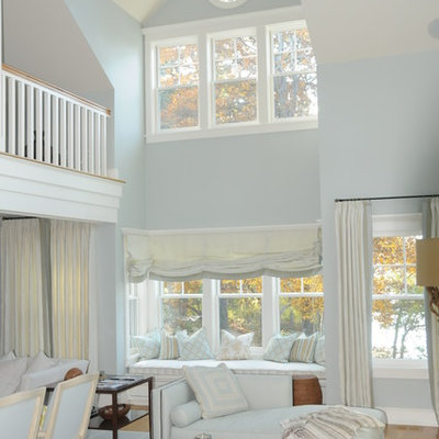 Living room - mid-sized coastal open concept and formal light wood floor living room idea in Boston with blue walls