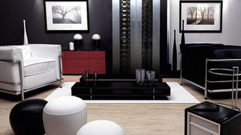 Vinotemp Living Room with Brushed Aluminum 250-Model Wine Cabinet with 2 Glass D