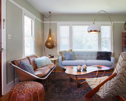 Inspiration For A Small Midcentury Modern Formal And Open Concept Medium  Tone Wood Floor Living Room