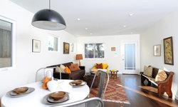 Vintage Global Modern Living/Dining Room with Kilim Rug