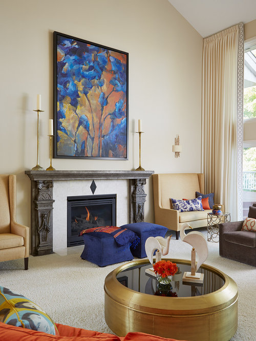 Inspiration For A Large Eclectic Formal Open Concept Living Room Remodel In Minneapolis With Beige Walls