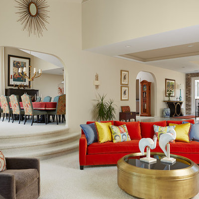 Large eclectic formal and open concept carpeted living room photo in Minneapolis with beige walls and no tv