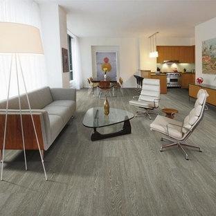 Inspiration för ett mellanstort funkis allrum med öppen planlösning, med ett finrum, vita väggar, vinylgolv och grått golv