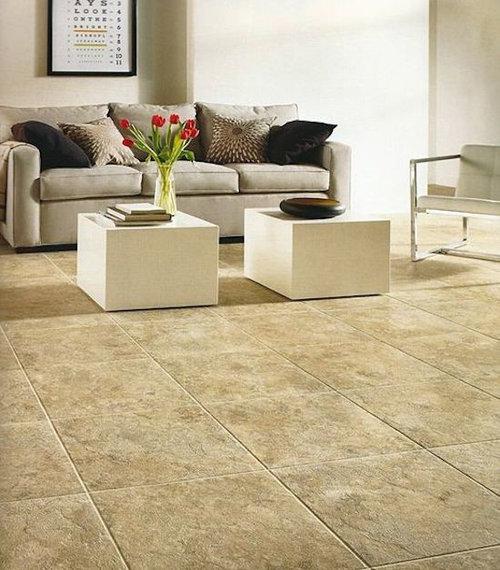 Vinyl floor living room design photos with travertine floors