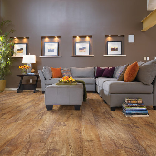 Mid Sized Rustic Open Concept Vinyl Floor Living Room Idea In Austin With  Brown Walls