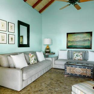 他の地域の小さいビーチスタイルのおしゃれな独立型リビング (青い壁、カーペット敷き、テレビなし) の写真