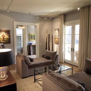 Modelo de salón contemporáneo con paredes grises