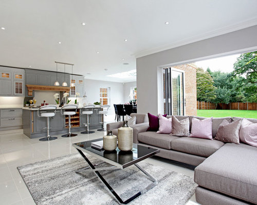 Photo Of A Modern Formal Open Plan Living Room In Surrey With Grey Walls. Part 74