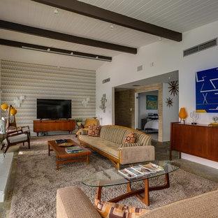 Esempio di un grande soggiorno moderno aperto con sala formale, pareti bianche, pavimento in ardesia, camino classico, cornice del camino in pietra, TV autoportante e pavimento multicolore