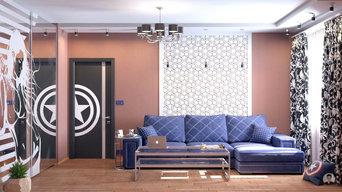 Visualisation photoréaliste 3D d'un salon pour un fan de Captain America (+360°)