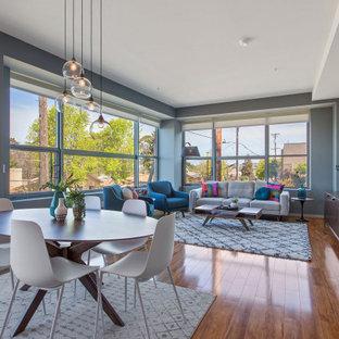 Immagine di un grande soggiorno minimalista stile loft con pareti grigie, pavimento in laminato e pavimento marrone