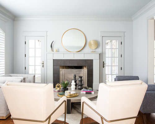 Living Room Design Furniture. Example of a transitional formal medium tone wood floor living room design  in Philadelphia with gray Best 100 Transitional Living Room Ideas Remodeling Photos Houzz