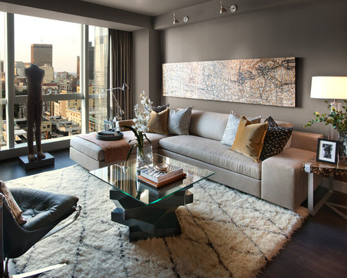 Inspiration for a contemporary living room remodel in Boston with gray walls