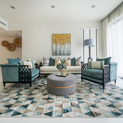 Inspiration for a contemporary formal and open concept white floor living room remodel in Singapore with white walls