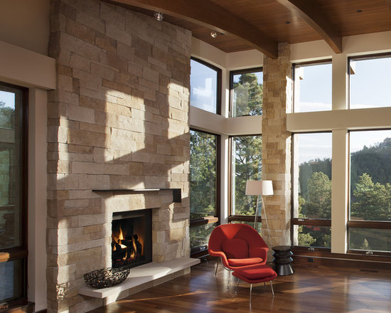 Modern Living Room With Fireplace modern fireplace mantel | houzz