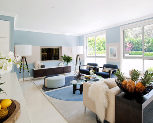 Example Of A Mid Sized Trendy Open Concept White Floor Living Room Design  In Sydney