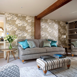 Design ideas for a medium sized beach style enclosed living room in Other with carpet, grey floors and beige walls.
