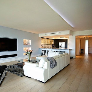 Example of a minimalist open concept living room design in Miami with a wall-mounted tv