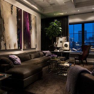 Esempio di un soggiorno minimalista di medie dimensioni con pareti grigie e moquette
