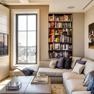 Transitional living room photo in New York