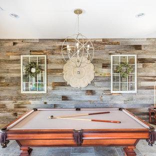 Ejemplo de salón para visitas abierto, romántico, grande, sin chimenea y televisor, con paredes grises y suelo de baldosas de cerámica