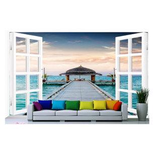 オレンジカウンティの大きいビーチスタイルのおしゃれなLDK (白い壁、濃色無垢フローリング、暖炉なし、レンガの暖炉まわり、茶色い床) の写真