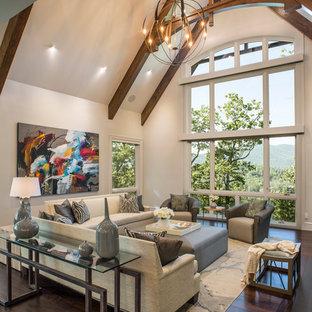 Idée de décoration pour un grand salon champêtre avec un mur blanc, un sol en bois foncé, un sol marron, une salle de réception, aucune cheminée et aucun téléviseur.
