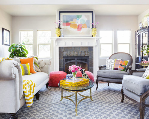 neutral living room with pops of color ideas pictures