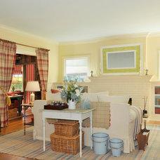 Farmhouse Living Room by Adeeni Design Group