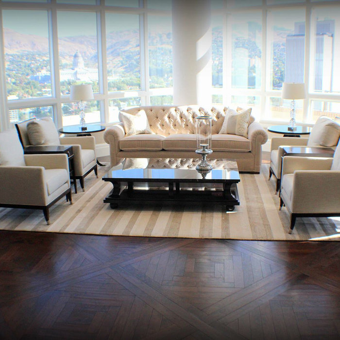 City Creek: Custom Walnut Parquet and Plank