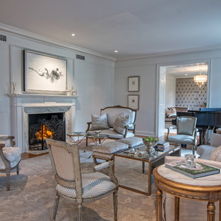 Mid-sized elegant formal and open concept dark wood floor living room photo in Other with gray walls, a standard fireplace, no tv and a stone fireplace