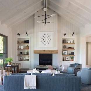 Inspiration for a country open concept living room in San Francisco with white walls, dark hardwood floors, a standard fireplace, brown floor, vaulted and planked wall panelling.