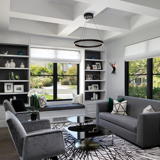 Inspiration for a mid-sized contemporary formal and enclosed dark wood floor and gray floor living room remodel in San Francisco with white walls and no tv