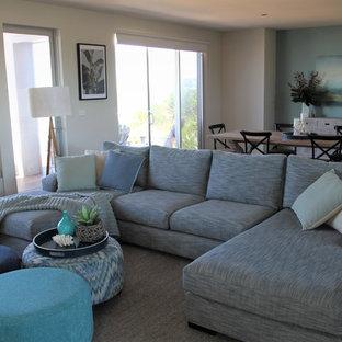 セントラルコーストの広いビーチスタイルのおしゃれな独立型リビング (無垢フローリング、標準型暖炉、石材の暖炉まわり、オレンジの床、青い壁) の写真