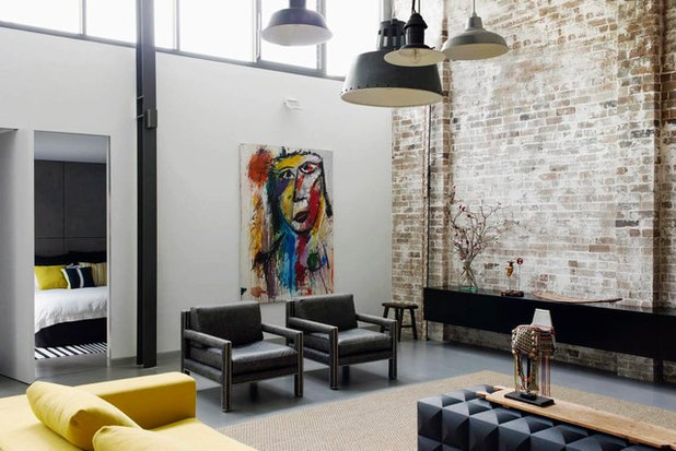 Industrial Living Room by BKA Architecture Pty Ltd