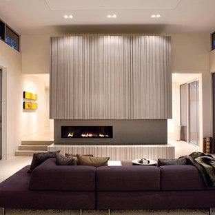 Example of a minimalist concrete floor living room design in San Francisco