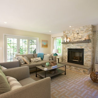 Mid-sized transitional living room photo in Boston