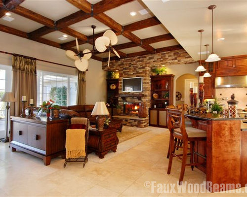 Grand Fireplace W Vaulted Ceilings Beams Open Floor: Faux Ceiling Beam