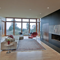 modern living room by J.A. Hand Construction, Inc.