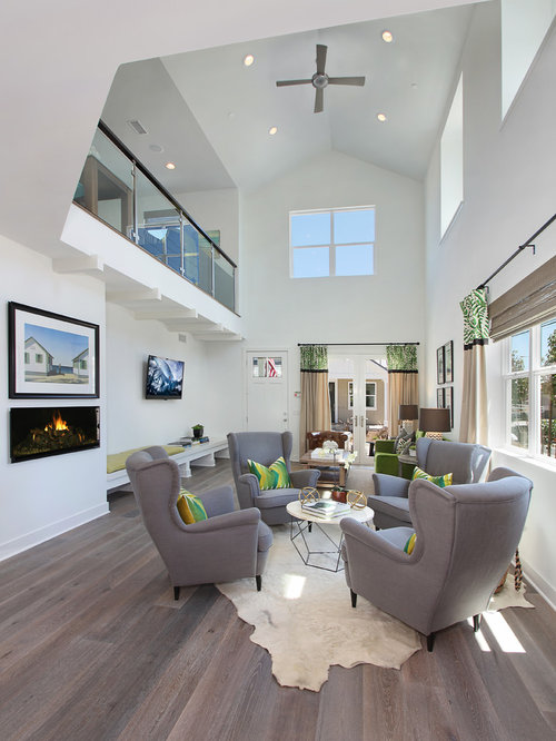Example Of A Transitional Open Concept Gray Floor Living Room Design In  Orange County With White Part 72