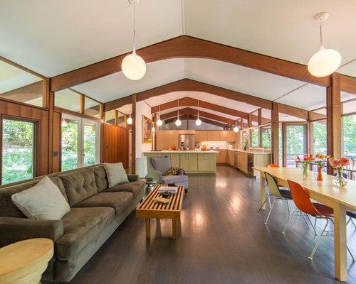 Wonderful Inspiration For A Midcentury Modern Open Concept Dark Wood Floor And Brown  Floor Living Room Remodel