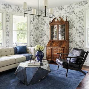 Inspiration pour un salon rustique de taille moyenne et fermé avec un sol en bois foncé, aucun téléviseur, un sol marron et un mur multicolore.