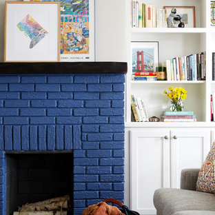 Living room - transitional living room idea in DC Metro with beige walls, a standard fireplace and a brick fireplace