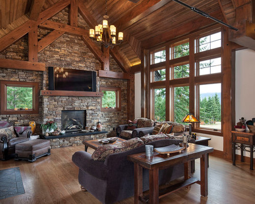 Mid Sized Mountain Style Open Concept Medium Tone Wood Floor And Brown Living Room
