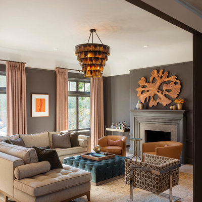 Living room - transitional living room idea in San Francisco with gray walls and a standard fireplace