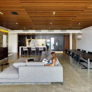 Cette photo montre un salon tendance de taille moyenne et ouvert avec un mur blanc, béton au sol, aucune cheminée et un sol gris.