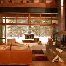 Rustic Living Room by Shepherd Resources Inc / AIA