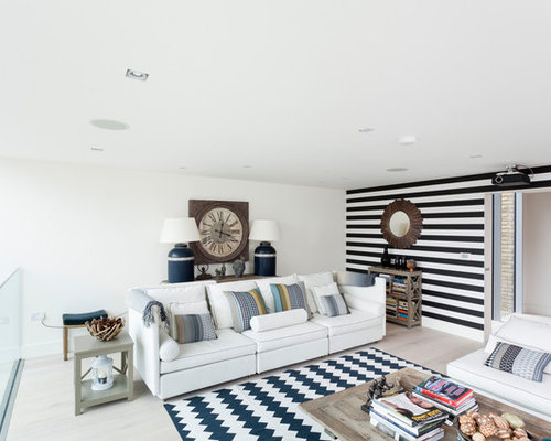Danish Loft Style Living Room Photo In Orange County With White Walls And Light Hardwood
