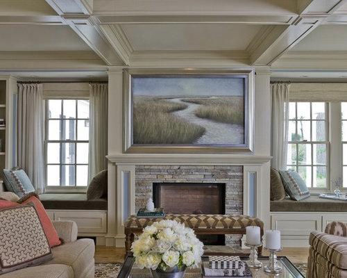 Tv Hidden Behind Art Home Design Ideas Pictures Remodel